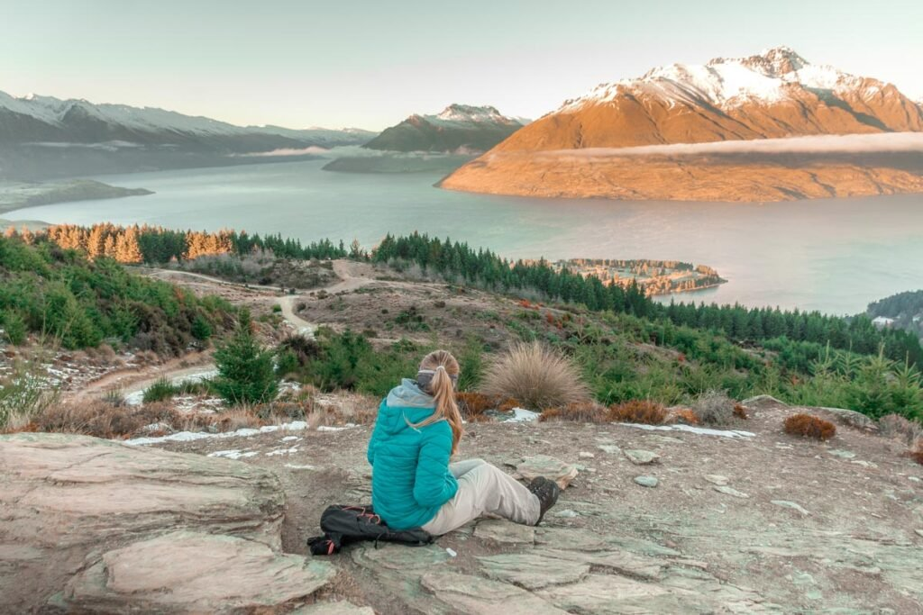 enjoying the view from the top of Queenstown Hill