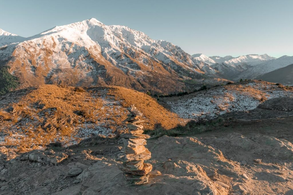 a mountain covered in snow on Queenstown hill