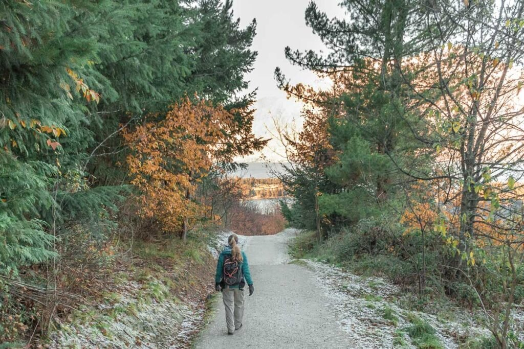 walking the trail on Queentown Hill