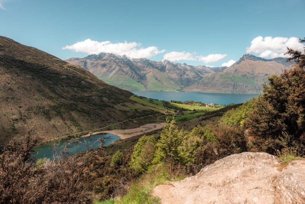 Views of Lake Wakatipu from the trail with Lake Dispute below
