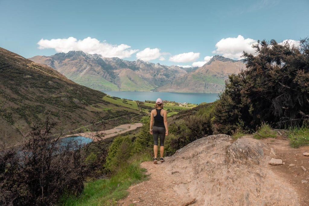 Bailey at a viewpoint on the Mt Crichton Loop Track near Queenstown, New Zealand