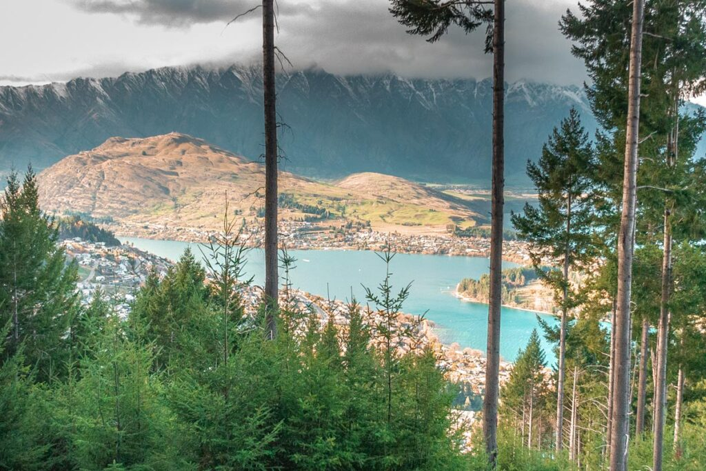 Views from the Tiki Trail looking down at Queenstown and Lake Wakatipu