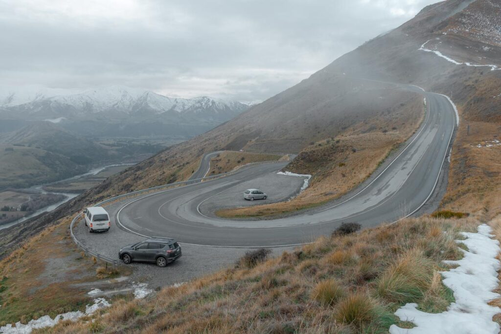 The windy road uo to the Remarkables Ski Field where the Lake Alta trail starts from