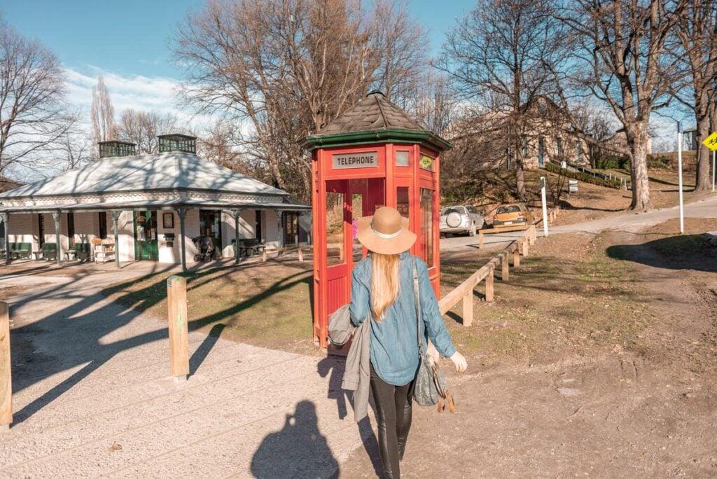 Bailey walks through Arrowtown, New Zealand