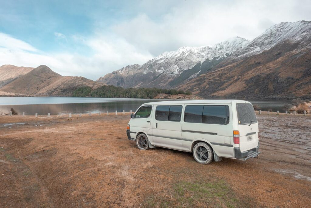 A campervan is parked up at Moke Lake