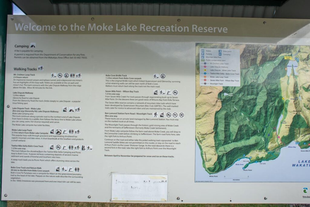 A map of all the trails around Moke Lake including all the mountain biking trails