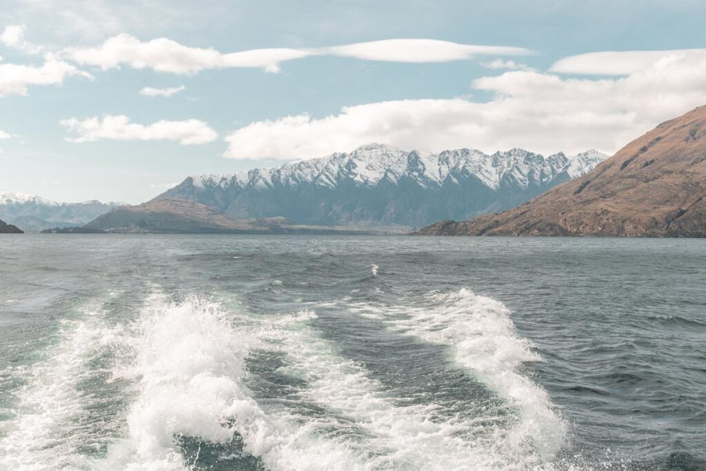 view of the Remarkables from lake cruise in Queenstown