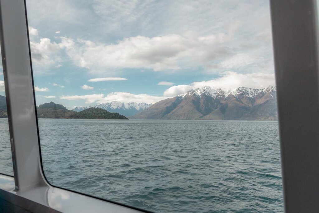 views from inside on a cruise in Queenstown