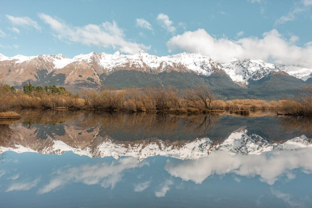 Reflections of the Humboldt Mountains at the Glenorchy Lagoon taken from the Glenorchy boardwalk walkway
