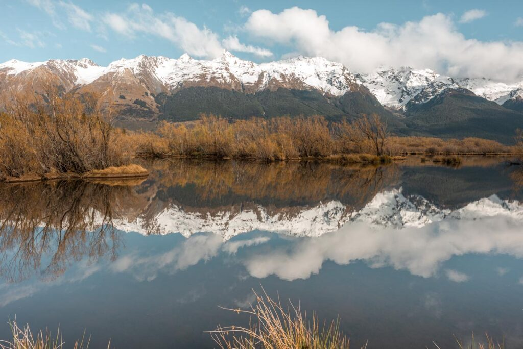 The Humboldt Mountains reflections from the Glenorchy Lagoon
