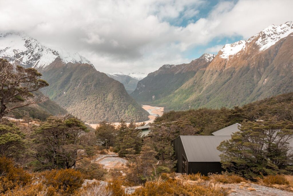 The Routeburn Falls Hut and views looking down at Routeburn Flats