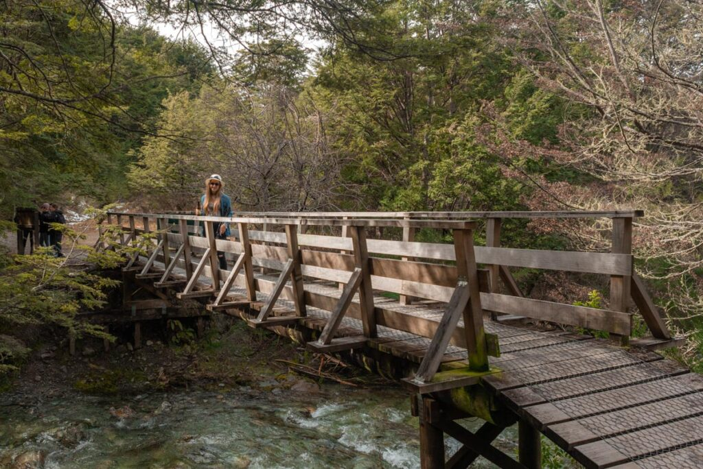 A lady stands on the bridge at the start of the Mt Crichton Loop