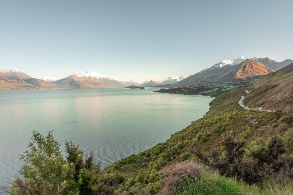 A view taken from a pull over bay on the road between Queenstown and Glenorchy