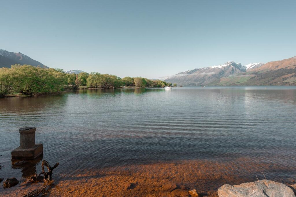 Views of Lake Wakatipu from the lenorchy jetty at the start of the Glenorchy Boardwalk