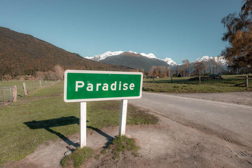 The Paradise sign in Glenorchy