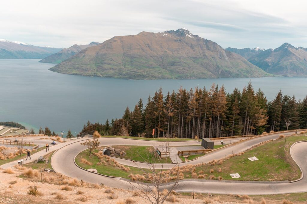 A view of the luge track with Lake Wakatipu in the background