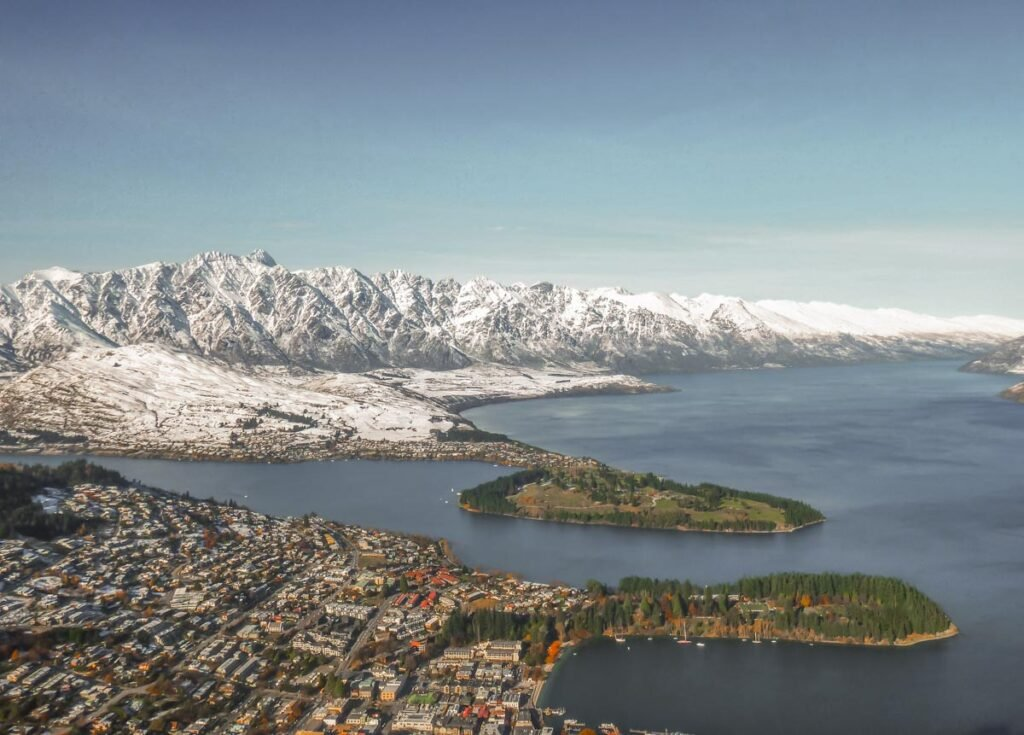 Views from Skyline in Queenstown on a winter day with views of the Remarkables Mountain Range and Lake Wakatipu