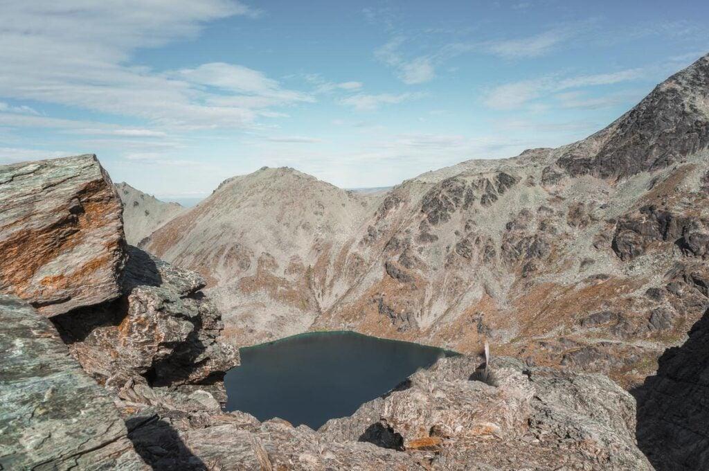Climbing up above Lake Alta
