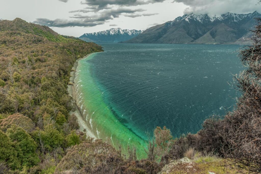 View from the Bob's Cove Track looking back at Lake Wakatipu and The Remarkables Mountain Range