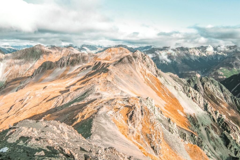 panoramic view of the mountains from Avalanche Peak, Arthurs Pass
