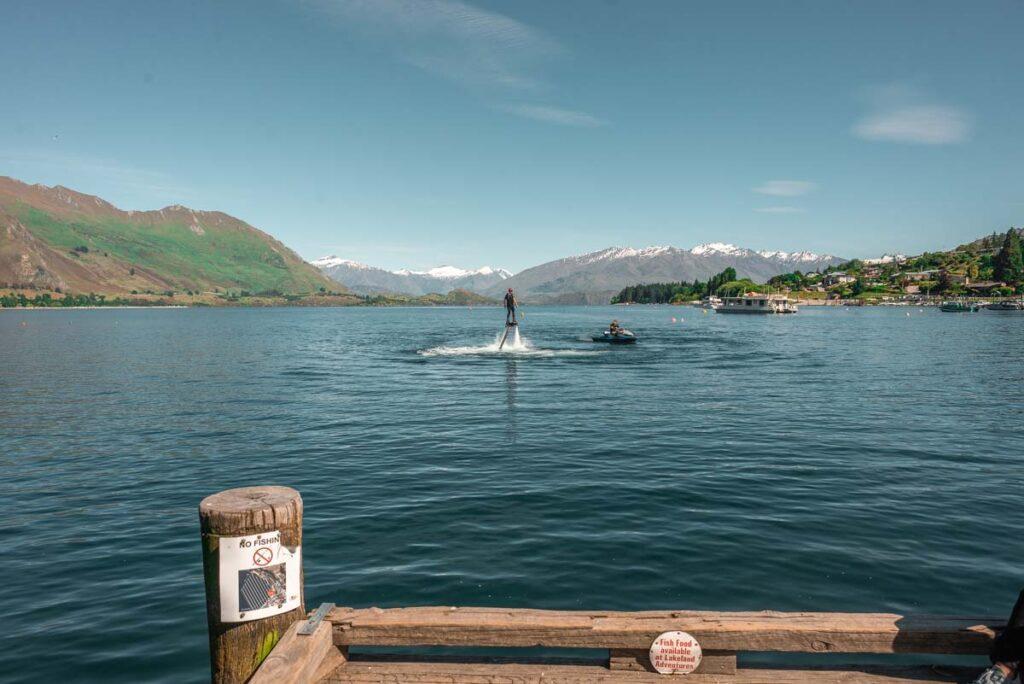 A man rides a jet ski in Lake Wanaka