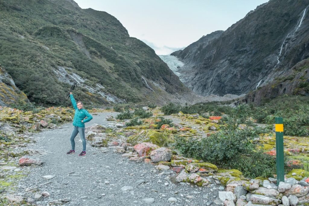 Bailey poses for a photo on the Franz Josef Glacier Valley Walk
