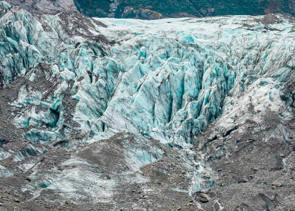 Close up photo of the Fox Glacier