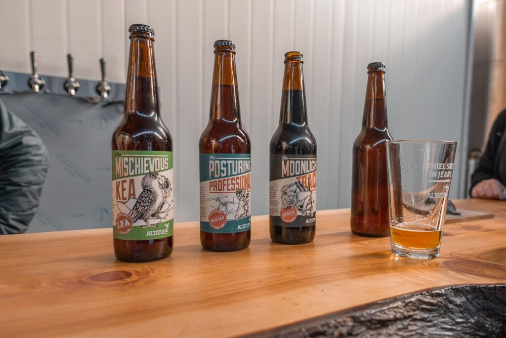 Four beer bottles from Altitude Brewing in Queenstown, New Zealand
