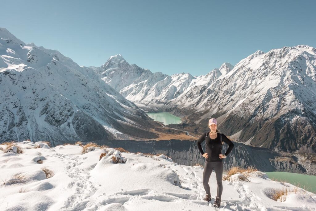 Bailey at the top of the Sealy Tarns Track in Mount Cook National Park