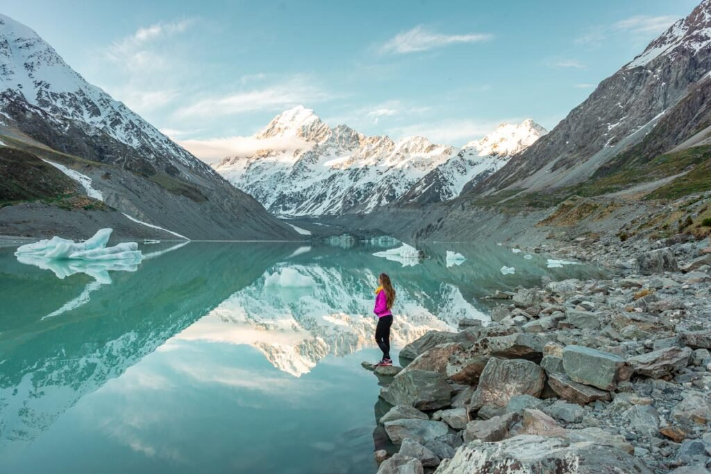 The Hooker Lake on the Hooker Valley Track