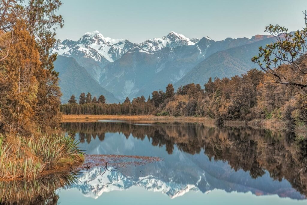 The view from Reflection Island on Lake Matheson