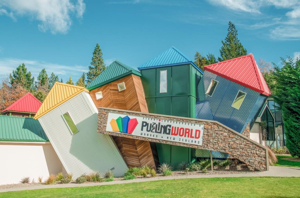 The front of Puzzling World in Wanaka