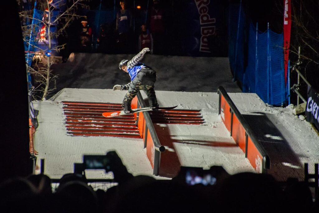 A snowboarder at the Red Bull Rail Jam at the Queenstown winter festival