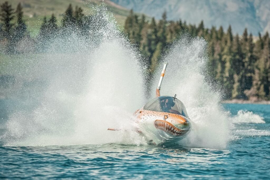 Hydro Attack speeds through the water in Lake Wakatipu, Queenstown