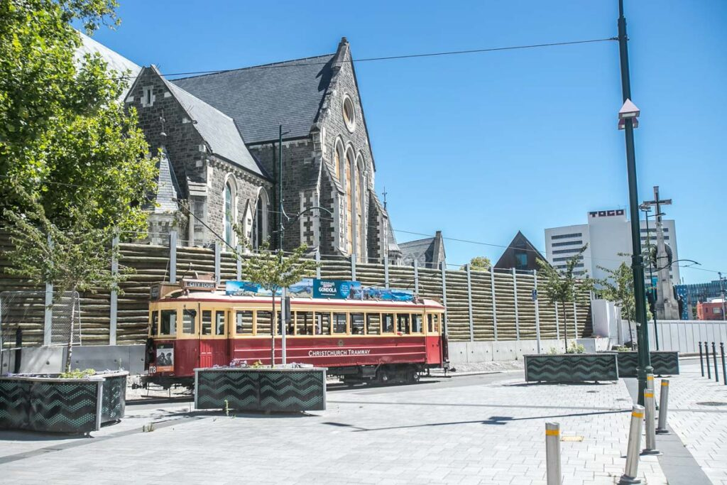 A tram drive by in Christchurch city, New Zealand