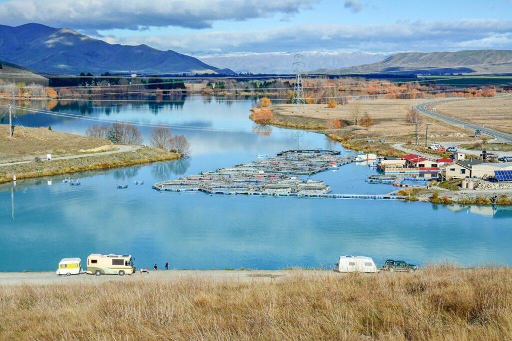 The high Country Salmon Farm near Twizel, New Zealand