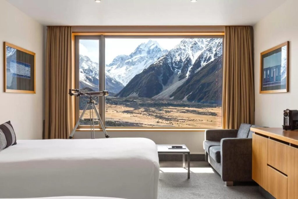 A room at the Hermitage hotel in Mount Cook National Park
