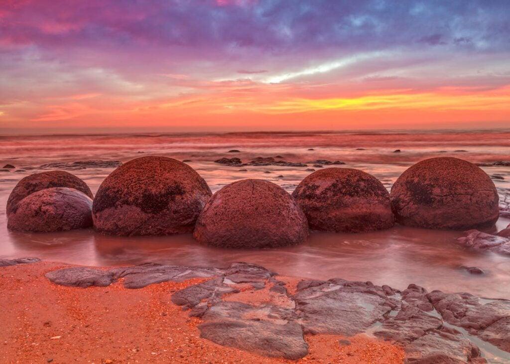 Moeraki Boulders  at sunset on the South Island