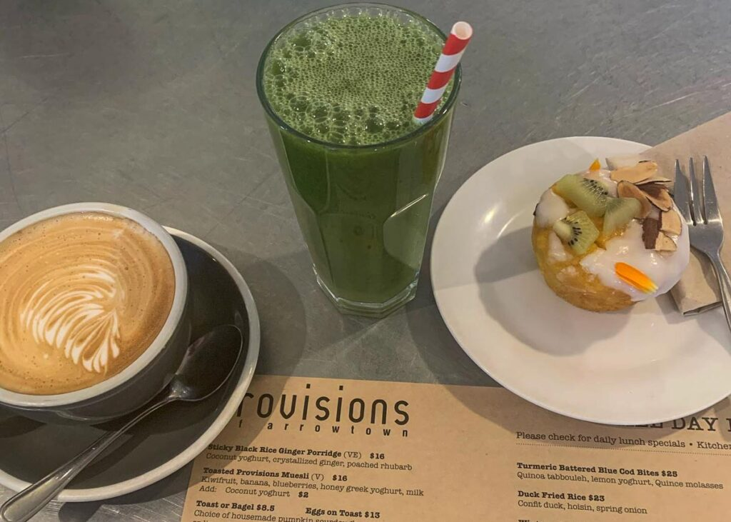 A coffee, smoothie and muffin at Provisions Cafe Queenstown