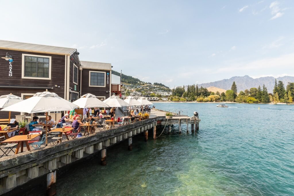 the patio at Public Kitchen and Bar near Lake Wakatipu in Queenstown