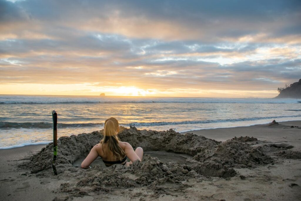 Hot Water Beach New Zealand at sunrise