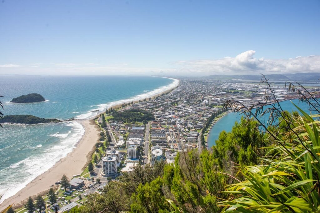 Views of the beach from Mt Maunganui