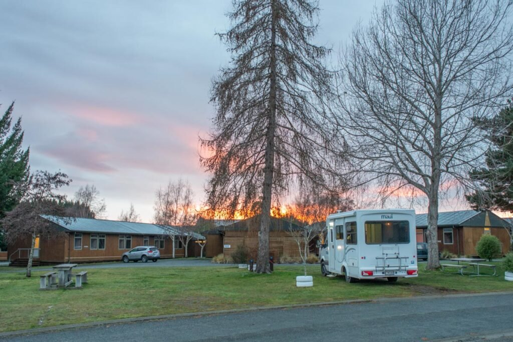 Our campervan at a holiday park in Te Anau