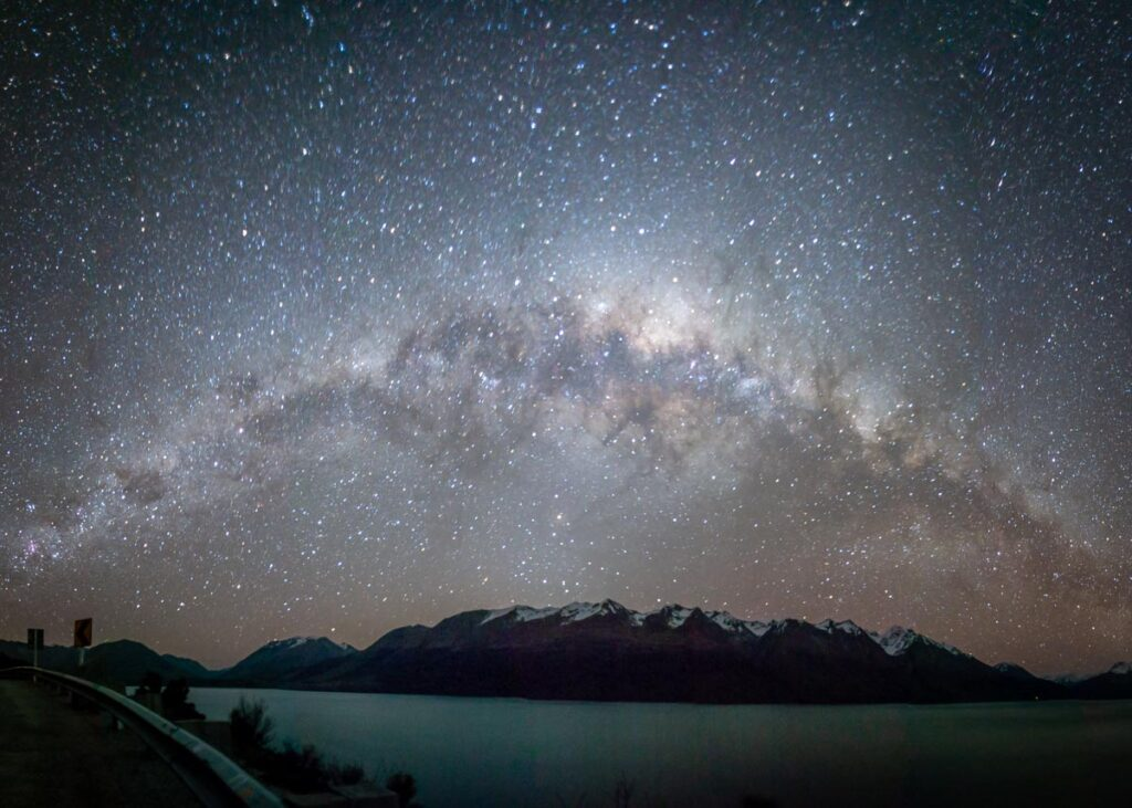 The Milky Way over the Humboldt Mountain Range near Queenstown in New Zealand
