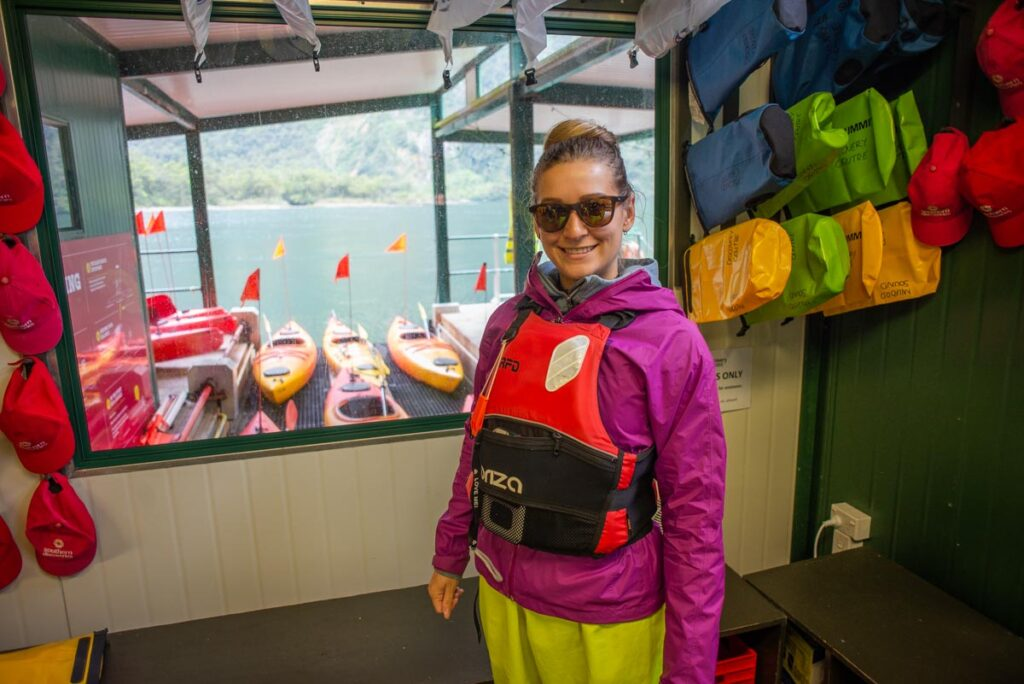 Bailey from My Queenstown Diary before going kayaking in Milford Sound