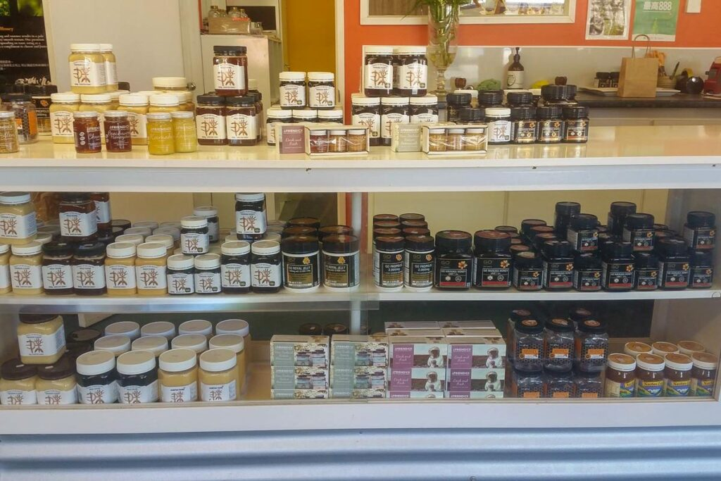 A selection of honey products at Garston Hunny Shop