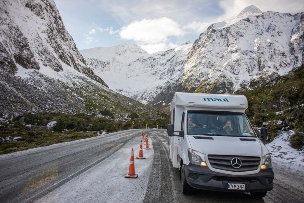 A motorhome waits at the Homer Tunnel