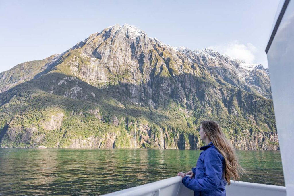 Bailey on a cruise in Milford Sound