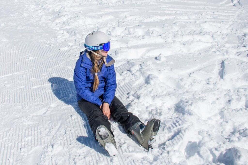 Falling over at Coronet Peak Ski Resort
