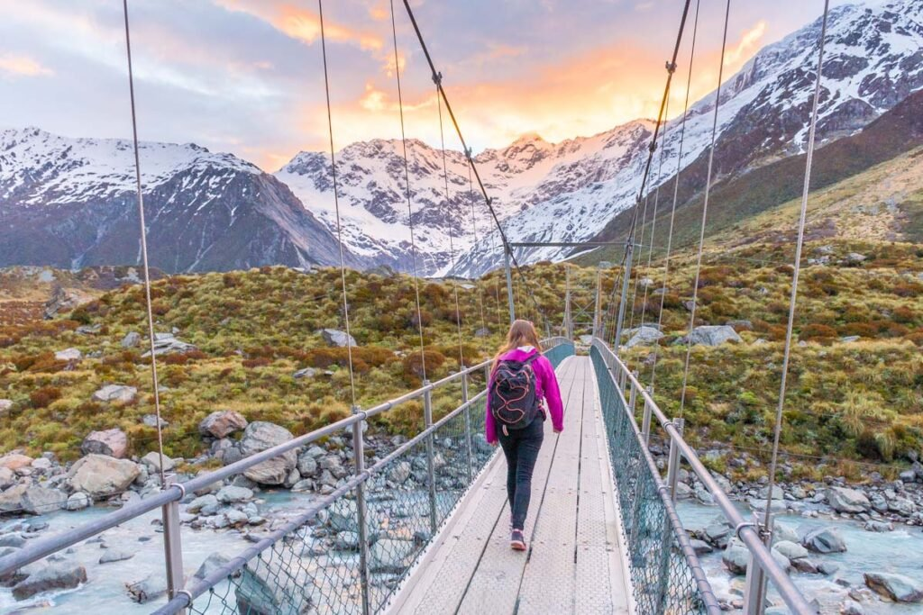 Hiking in Mount Cook National Park on the Hooker Valley Track at sunset